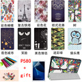 New Colored drawing Tab A P580 Leather Case folio stand Cover For Samsung Galaxy Tab A A6 10.1 P580 P585 2016 Tablet PC+Pen+Film