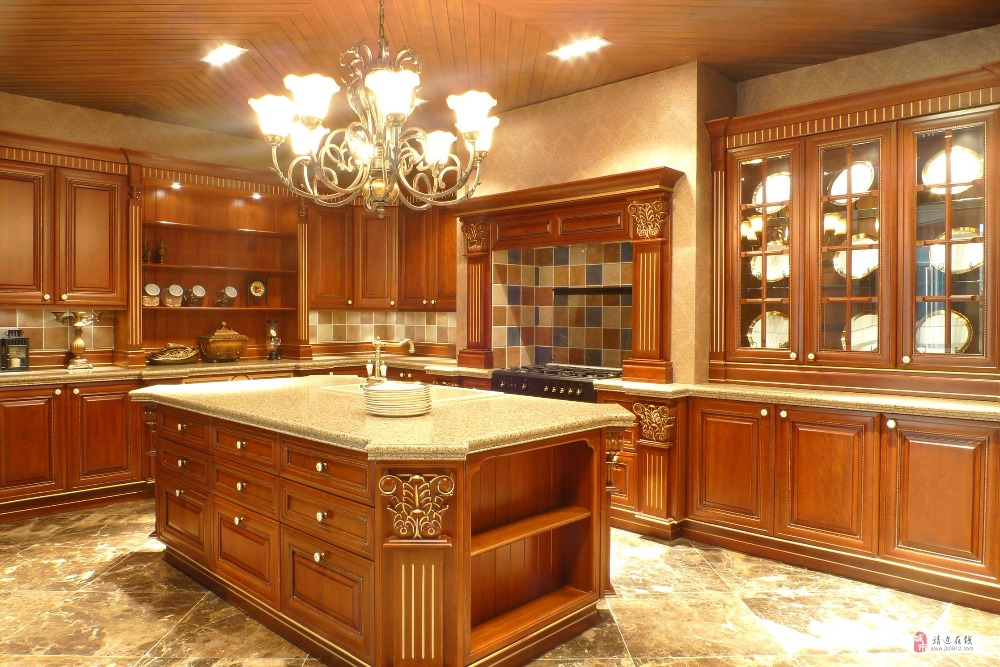 American Red Cherry Wood Antique Kitchen Cabinet Design