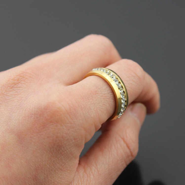 Mất Tiền 95% OFF!!! không bao giờ Phai Solid Gold Màu CZ Diamant Nhẫn Cưới Cho Phụ Nữ 361L Thép Không Gỉ Vòng Bán Buôn JZR042