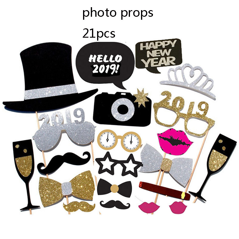 New Year Diy Photo Props Hello 2019 Happy New Year Eve Party