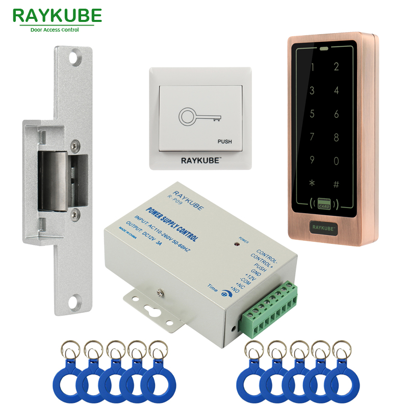 все цены на RAYKUBE Access Control Kit Electric Strike Lock + Password Keypad FRID Reader+ID Keyfobs+Exit онлайн