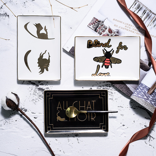 Eastyle Ceramic Dish Jewelry Holder Decorative Porcelain Trinket Plate Earring Ring Necklace Tray Desk Organizer Storage