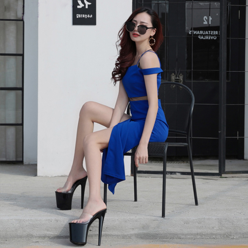 Summer Platform Sexy Clear Pvc Strappy Sandals Shoe For -9934