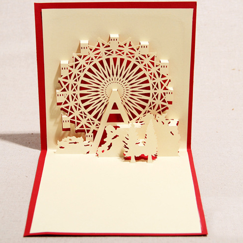 ferris wheel korean handmade three dimensional blessing business cards universal love thanksgiving greeting cards birthday