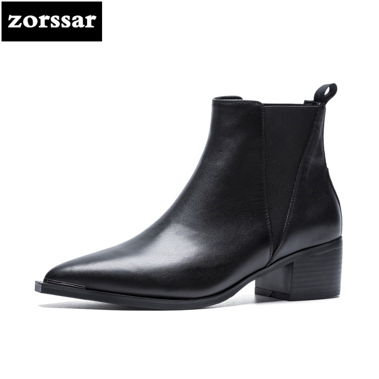 {Zorssar} 2018 Spring and autumn Women shoes Genuine Leather low heel ankle Boots womens Chelsea boots zapatos de mujer botas pathfind women genuine leather ankle boots zapatos mujer handmade martin timber shoes tooling 2018 womens outdoor western botas