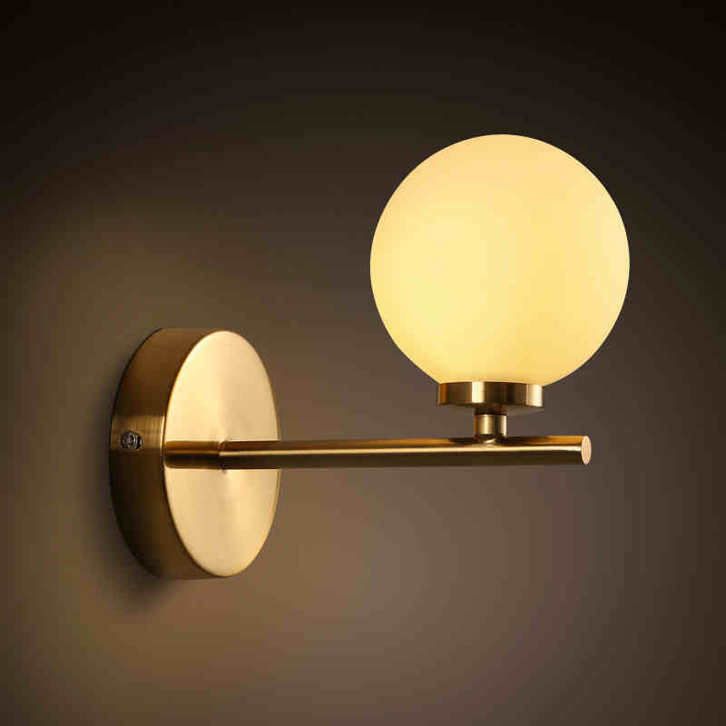 ФОТО American fashion apartment wall lamp modern minimalist glass spherical bedroom bedside balcony wall creative study Wall Lamps