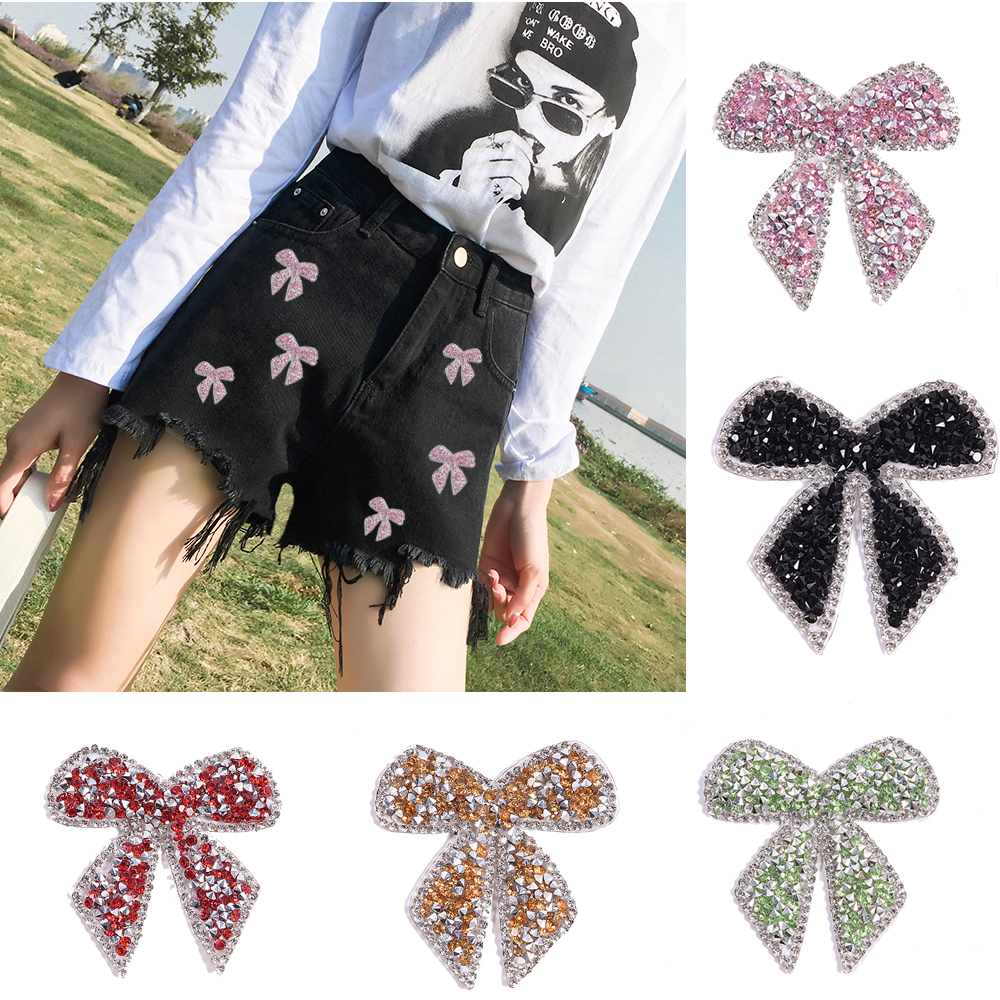 Colorful Bow-Knot Sticker Rhinestone Iron-On Patches For Clothes  Clothing Decoration Decal Patches For Jackets