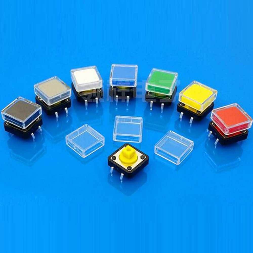 100pcs Transparent Button Cap Square Button Cap Tactile Switch Button Cap For 12*12mm Switch Buttons