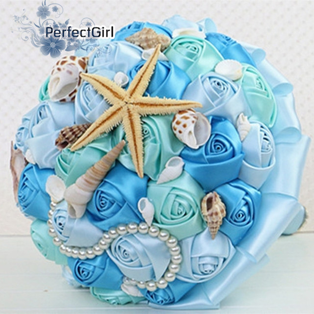 Handmade Ocean Bridal Wedding Bouquet mariage starfish shell conch,bridal silk roses flower ramo de novia ramo novia rojo blanco
