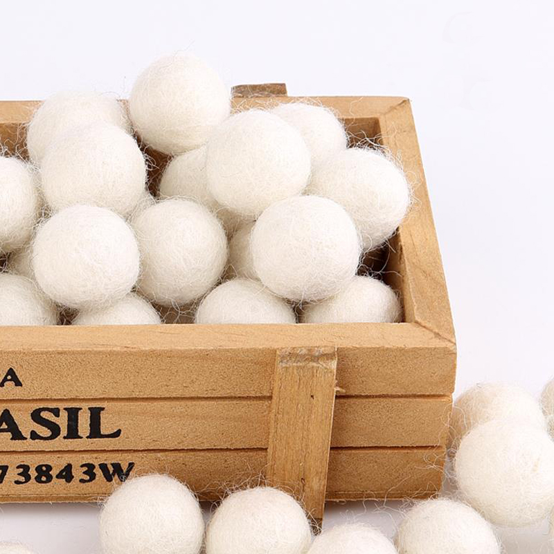 Felt Balls Ivory 30pc-100pc Wooden Beads 20mm - Off White Shade DIY Garland Ball 100% Wools DIY Home Decor  Mix Color