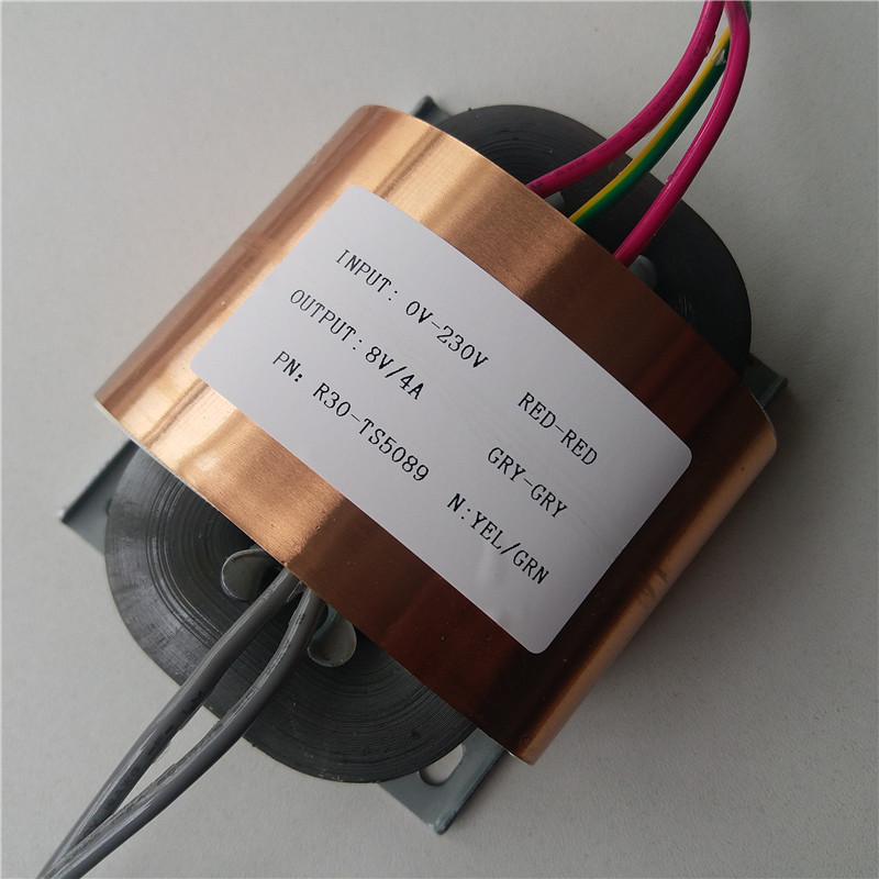 8V 4A R Core Transformer 30VA R30 custom transformer 230V input copper shield for Power supply amplifier 7 5v 4a r core transformer 30va r30 custom transformer 230v copper shield for pre decoder power amplifier