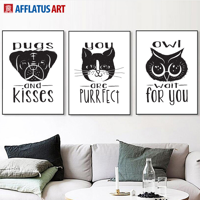 Afflatus dog cat owl wall art posters and prints canvas painting nordic poster black white animals
