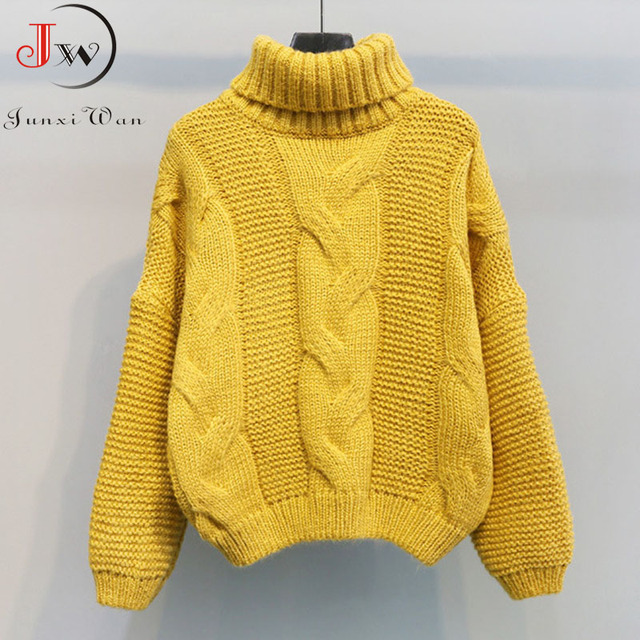 2019 Autumn Winter Short Sweater Women Knitted Turtleneck Pullovers Casual Soft Jumper Fashion Long Sleeve Pull Femme 10