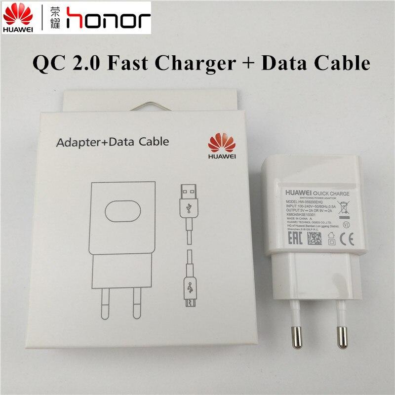 D'origine Huawei p20 lite Chargeur P9 Lite p10 lite p8 nova 3 2 2i Honneur 8 9 lite COMPAGNON 8 y6 2017 téléphone QC 2.0 CHARGE RAPIDE adaptateur