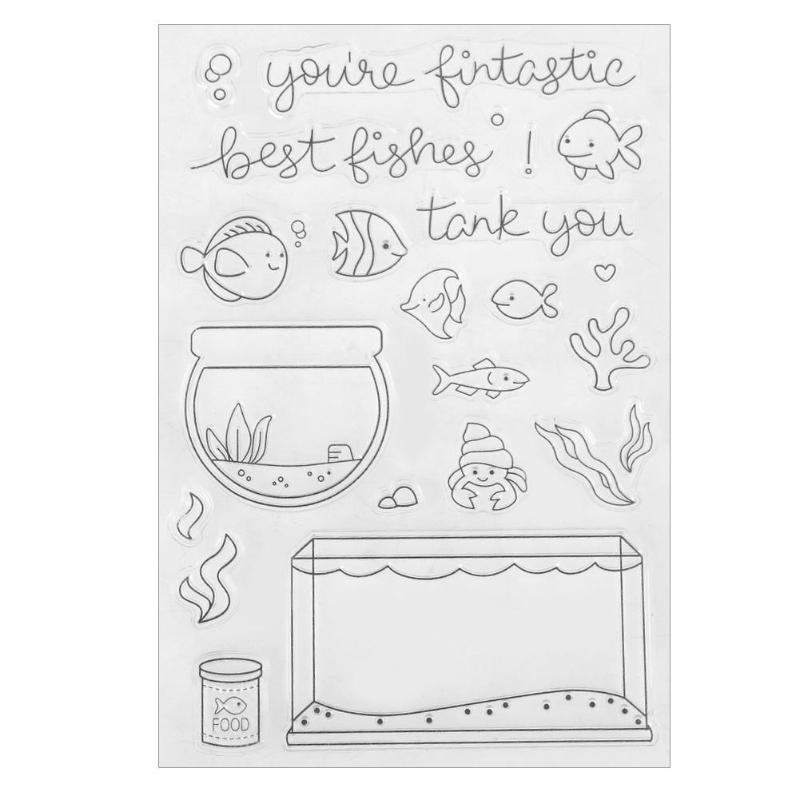 New Fish Tank Transparent Sticker Clear Silicone Stamp Seal for Photo/Card Making Album Sheets Decoration Supplies Gift new arrival butterfly transparent silicone clear rubber stamp seal paper craft scrapbooking decor projects paper card tm 001