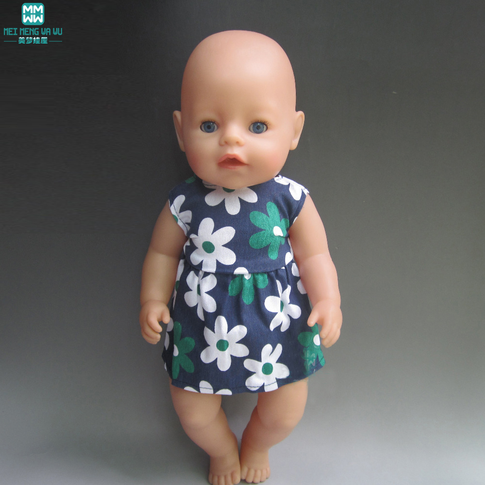 Clothes for dolls fits 43cm Zapf Baby Born Doll print Cotton print dress for child Christmas Gift rose christmas gift 18 inch american girl doll swim clothes dress also fit for 43cm baby born zapf dolls