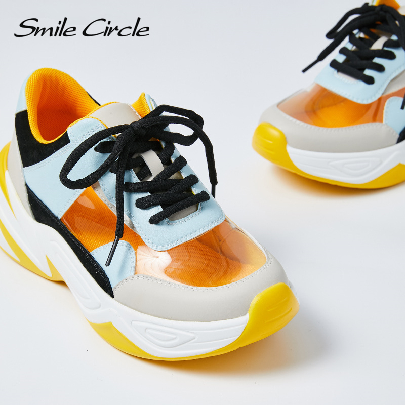 Smile Circle 2019 Spring Women Shoes Transparent Sneakers For Women Fashion Lace up casual Sneakers Flat Platform Shoes-in Women's Vulcanize Shoes from Shoes    3