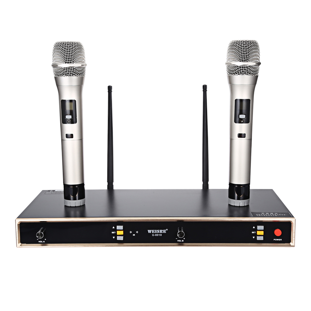 WEISRE U-8010 Professional UHF Wireless 2 Channels Microphone Set With Receiver Automatic Infrared On Frequency For KTV Karaoke bardl us 132 2 channels uhf infrared frequency lcd 200 frequency adjustable wireless microphone handheld lavalier headset