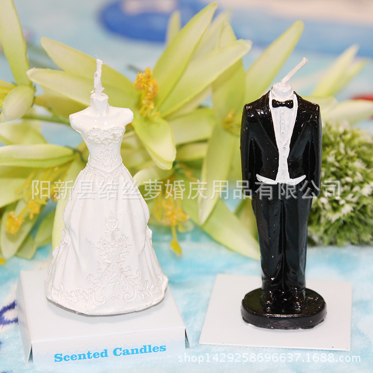 10pcs romantic wedding dress & bridegroom suit molding candle Creative smokeless cake candle party decoration with Gift Box