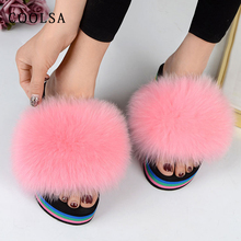 Coolsa Real Fur Slippers Women Slides Wedge Fluffy Fox Flip Flops Soft  Furry Ladies Platform Shoes