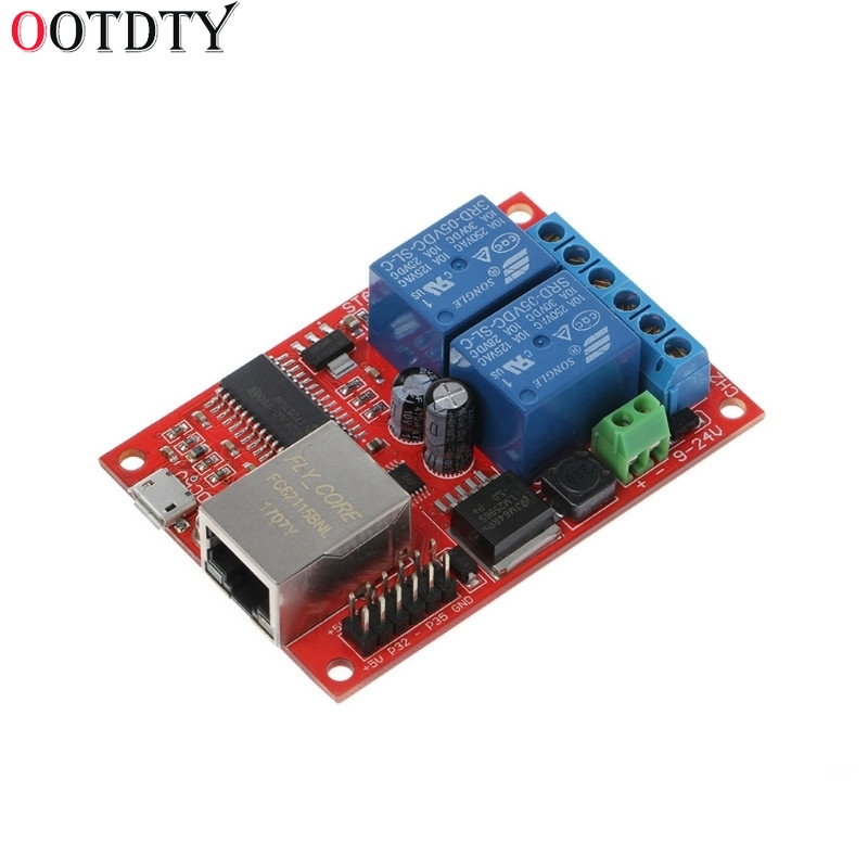OOTDTY LAN Ethernet 2 Way Relay Board Delay Switch TCP/UDP Controller Module WEB Server 8 ethernet relay network switch point dynamic delay tcpudp module controller local button