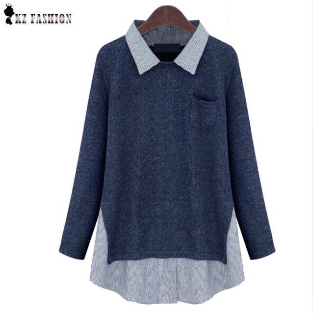 Plus Size XXXL T-shirt T-shirt Das Mulheres da Primavera Outono Camisola Blusas Femininas Manga Comprida Patchwork Bolso de Lã Malhas T64614R