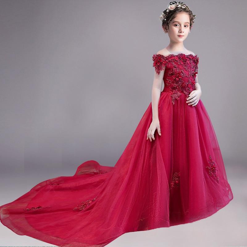 Романтичное свадебное платье подружки невесты с цветочным узором для девочек; Новинка года; длинное кружевное платье с украшением из бисера; праздничное платье с цветочным узором для девочек - Цвет: wine red