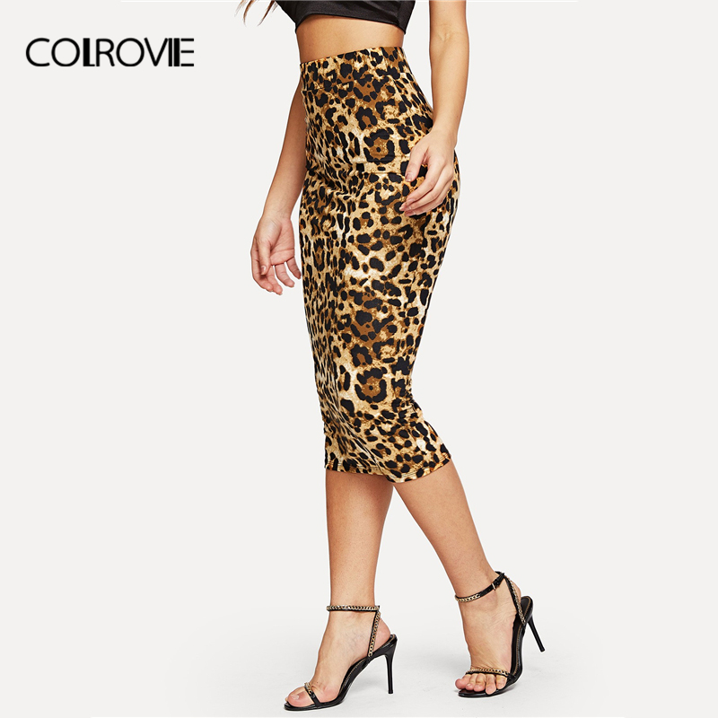 Image 3 - COLROVIE Leopard Print High Waist Workwear Bodycon Winter Long Skirt 2018 Autumn Vintage Fashion Skirts Womens Pencil Sexy Skirt-in Skirts from Women's Clothing