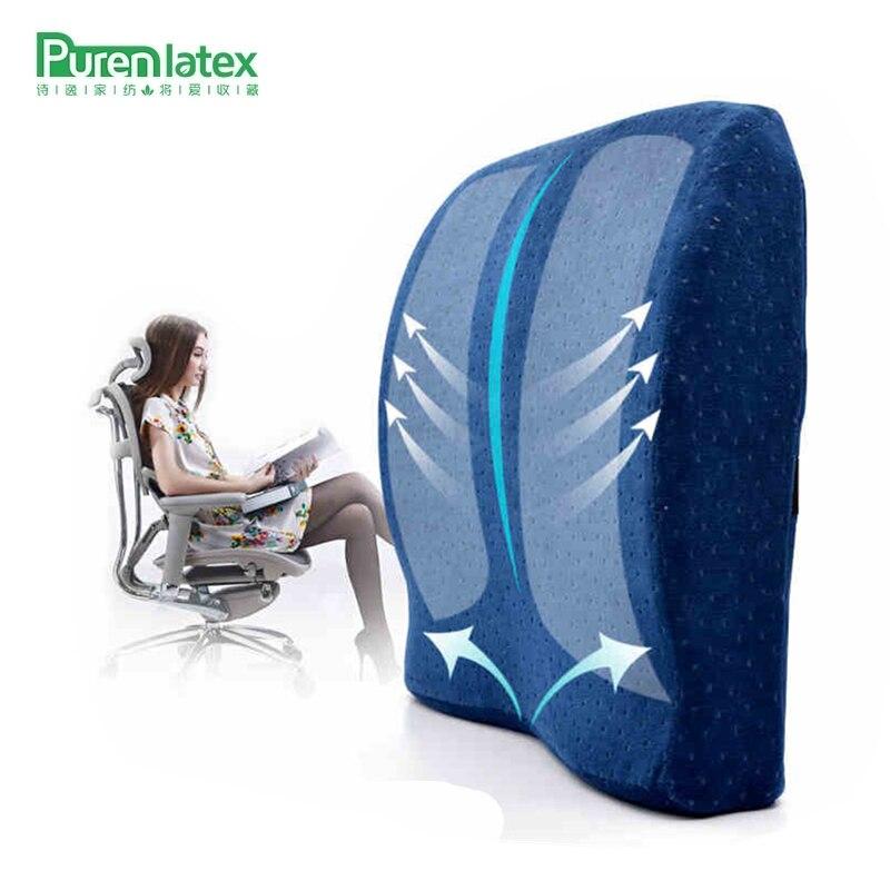 PurenLatex 40*41*10 Memory Foam подушка позвоночника Coccyx Protect ортопедическое автокресло офисный диван стул задняя Подушка Поясничный коврик