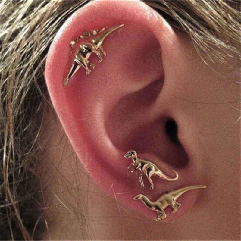 3 pair/set Punk Gold Silver Color Dinosaur Earrings for Women Men Personality Jewellery Auricle Stud Earrings Bijoux brincos