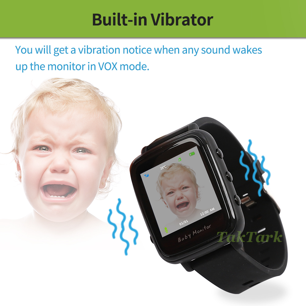 Image 3 - Wireless Video Watch Style Baby Monitor Portable shock vibration Baby Nanny Cry Alarm Camera Night Vision Temperature Monitoring-in Baby Monitors from Security & Protection