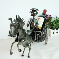 Creative horse pull car modeling red wine rack home decoration handmade