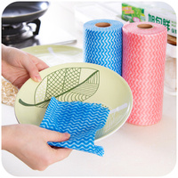 50pcs Roll Multipurpose Non Woven Fabric Nonstick Wiping Rags House Cleaning Cloth Kitchen Dish Dishcloth Free