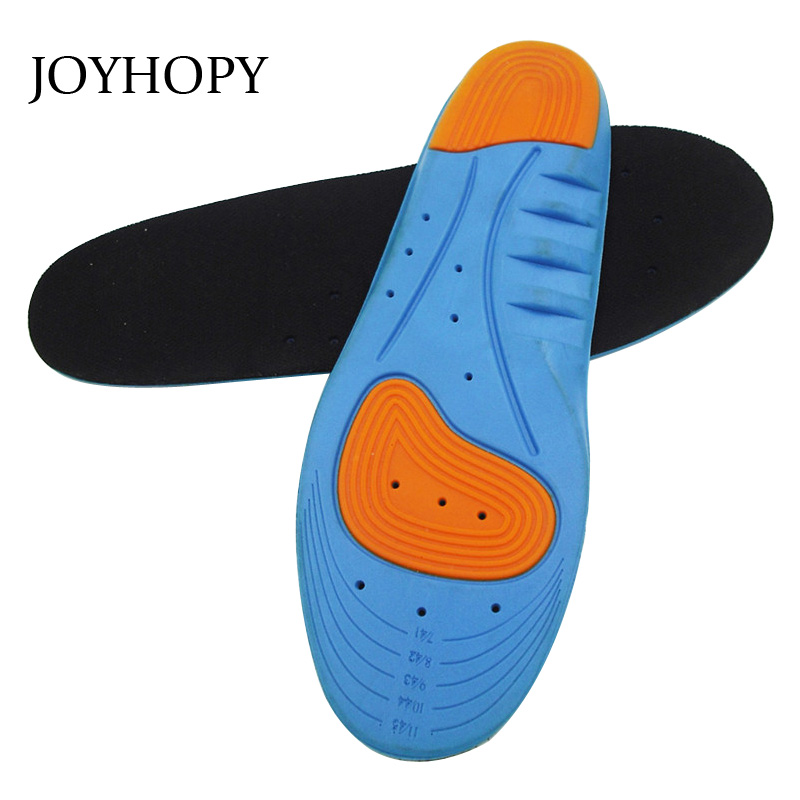 JOYHOPY PU+ Gel+ Mesh Shock Absorbing Sports Shoes Pad Men Women silicone Insoles For Sneakers Insert Cushion SC013 unisex silicone insole orthotic arch support sport shoes pad free size plantillas gel insoles insert cushion for men women xd 01