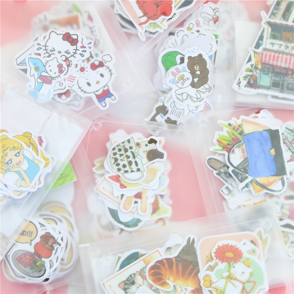 1 Bag Cute Kawaii Animal Paper Sticker Lovely Cat Stickers For Home Decoration Scrapbooking Diary Memo Pads Stickers birthday cake