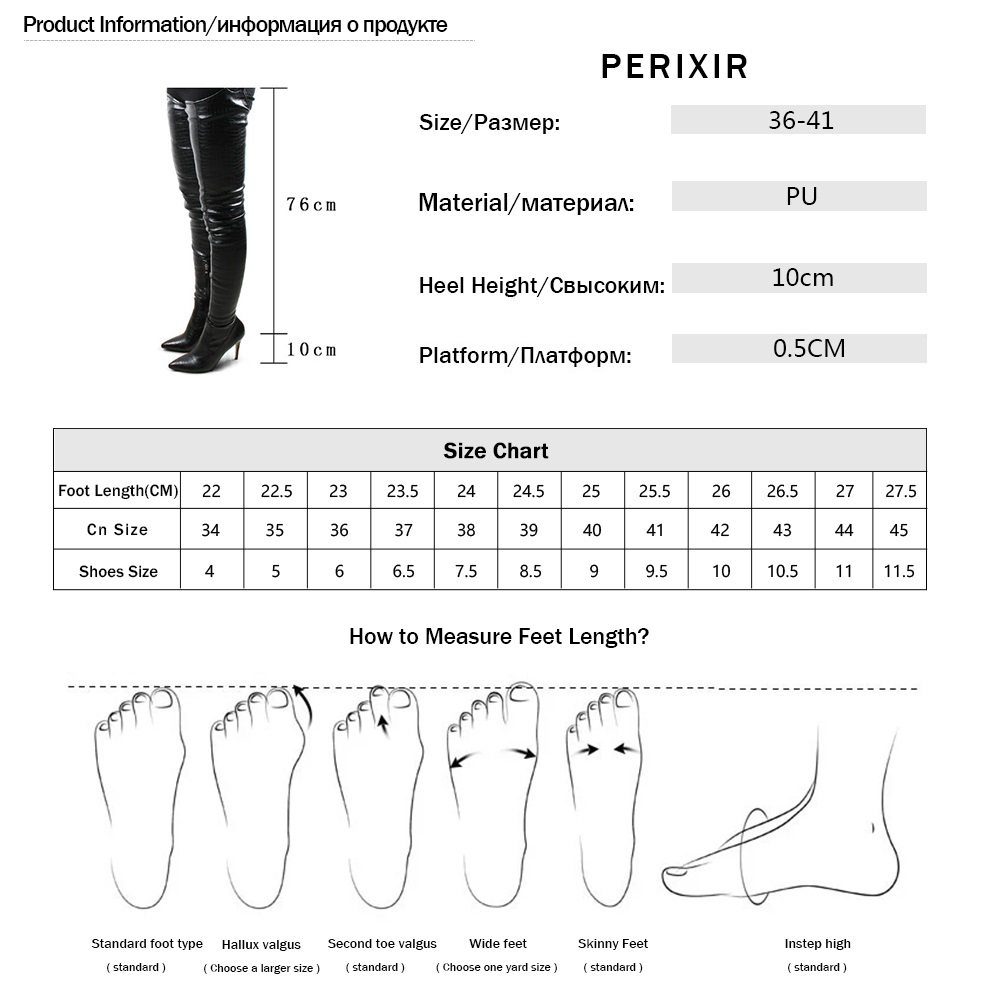 Image 5 - Perixir PU Women High Heels Long Thigh High Boots Rihanna Style Over the Knee Boots for Women Shoes Pointed Toe Pleated Solid-in Over-the-Knee Boots from Shoes