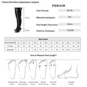 Image 5 - Perixir נשים גבוהה עקבים ארוך ירך גבוהה מגפי ריהאנה סגנון מעל הברך מגפי מחודדת הבוהן נשים שחור נעלי ב חורף 2020