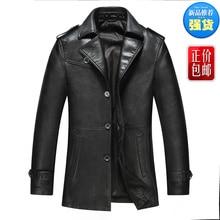 Male leather clothing commercial men's turn-down collar thin leather jacket sheepskin casual outerwear  abrigo de cuero