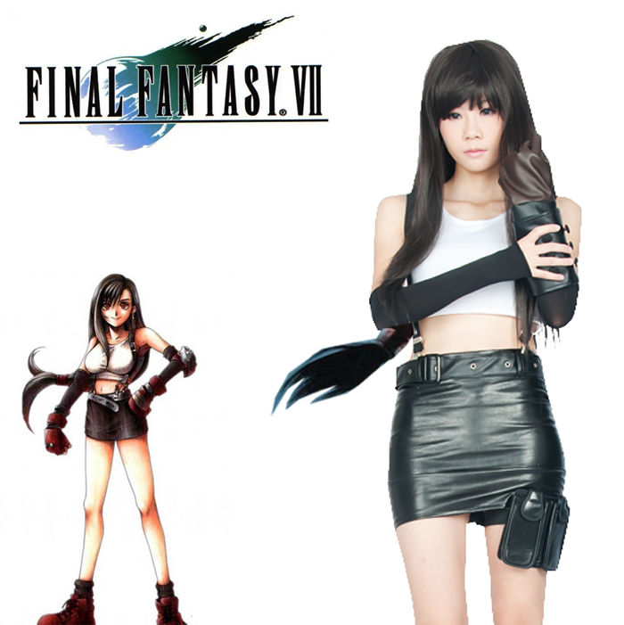 Final Fantasy VII FF7 Cos Anime Game Cartoon Halloween Cosplay Tifa Lockhart Fighting Un ...