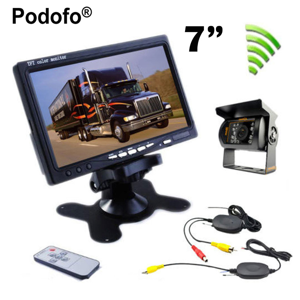 Podofo Wireless Truck Vehicle Car Rear View Camera Night Vision Waterproof Backup Kit 7 TFT LCD Monitor High Solution 420 TVL 4 channel 256g sd car vehicle dvr mdvr video recorder kit cctv rear view camera dome camera for truck van bus free shipping