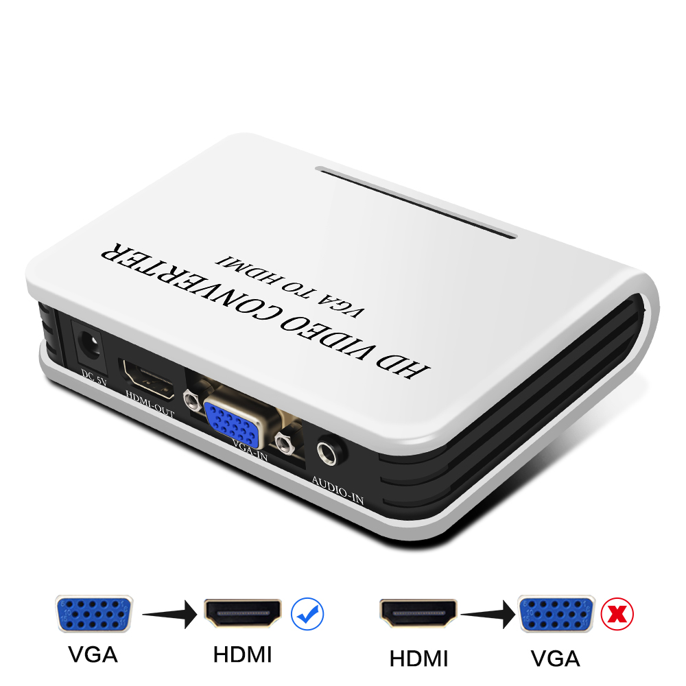 High Quality VGA to HDMI Output 1080P Cable Converter Adapter for HD Audio TV AV HDTV PC new vga to hdmi converter adapter output 1080p hd with audio vga2hdmi tv av to hdtv video cable convertor adapter for tv pc