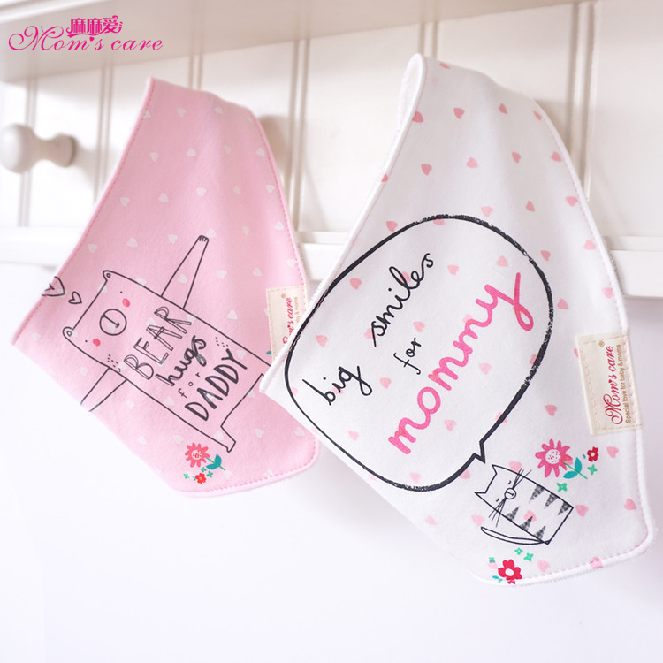 2pcs/lot Cute Cartoon Cotton Baby Bibs Bandana Newborn Accessories Baby Boy Girl Feeding Bib Towel Burp Cloth
