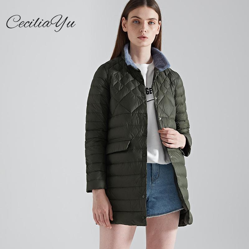 Ceciliayu 2018 Women's Winter Dresses With Large Size Women's Outerwear In The New Light And Thin   Down     Coat   Medium And Long