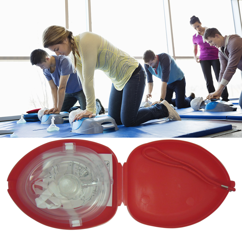 CPR Mask With One-way Valve For First Aid Rescuers Training Professional Teaching Kit Breathing Mask Medical Tool 500pcs lot optional color cpr breathing mask protect rescuers with one way valve artificial respiration reuseable mask