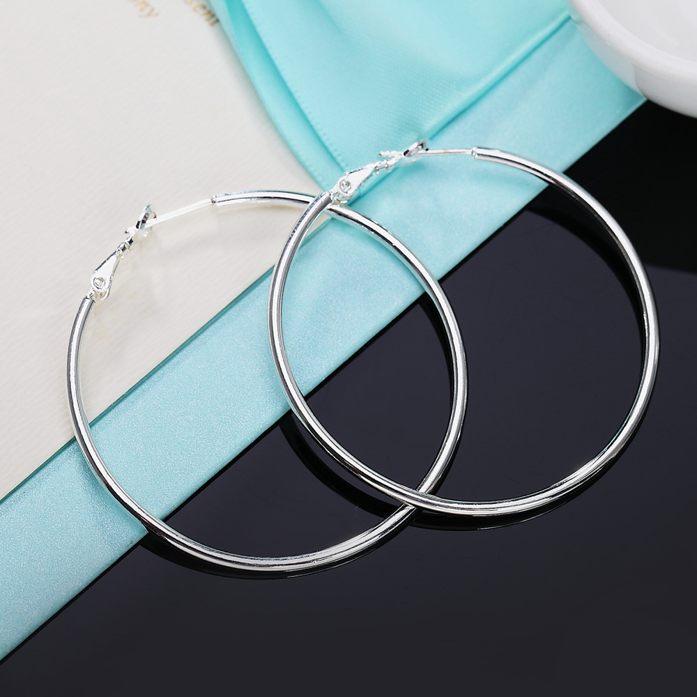 Real 925 Silver Round Circle Hoop Earrings Jewellery For Women Thin Small Big Hoops 50MM 60MM 70MM 80MM