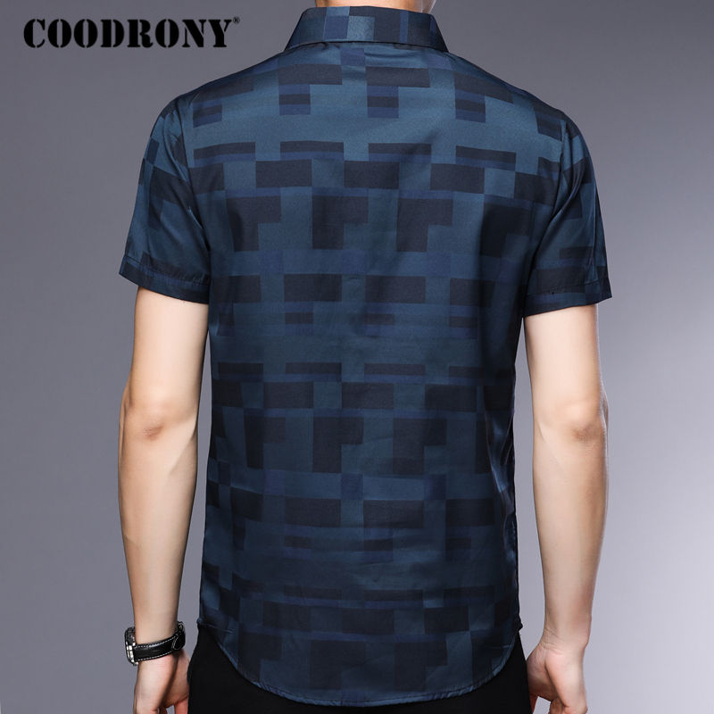 COODRONY Short Sleeve Shirt Men Clothes 2019 Summer Mens Shirts Casual Slim Fit Plaid Camisa Masculina Cotton Chemise Homme 8701 4