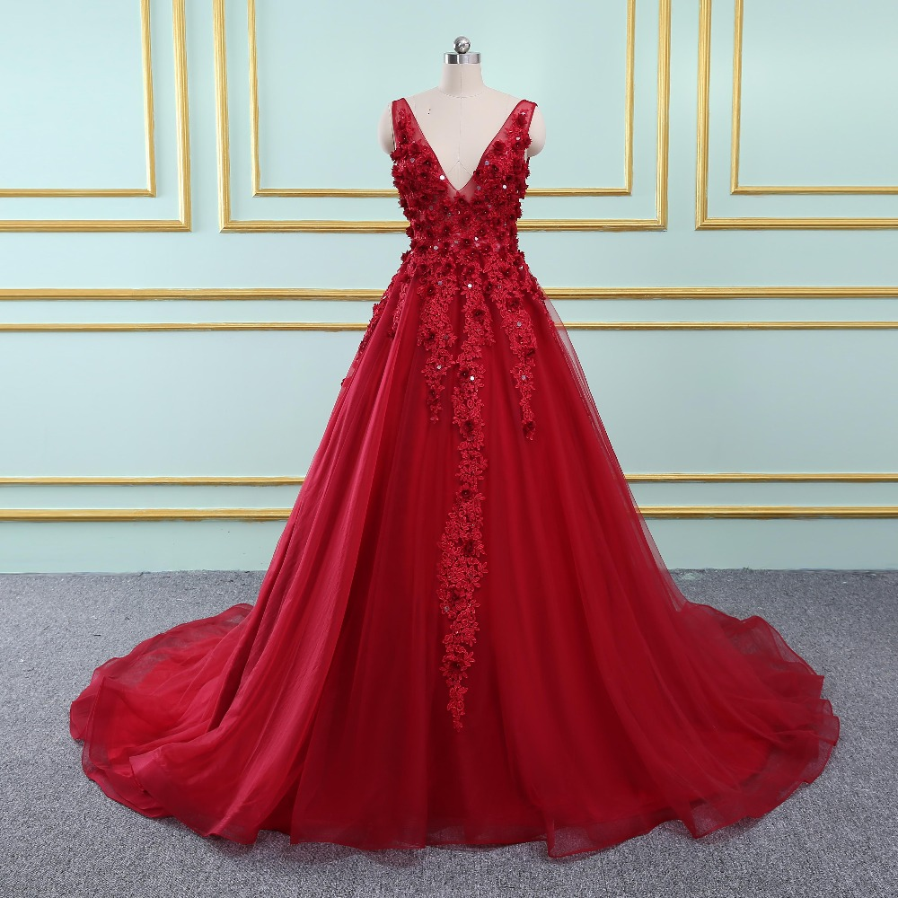 Sexy V Neck Long   Evening     Dress   2019 New Arrival Backless Court Train Flowers Burgundy Special Occasion Prom Gowns Custom Made