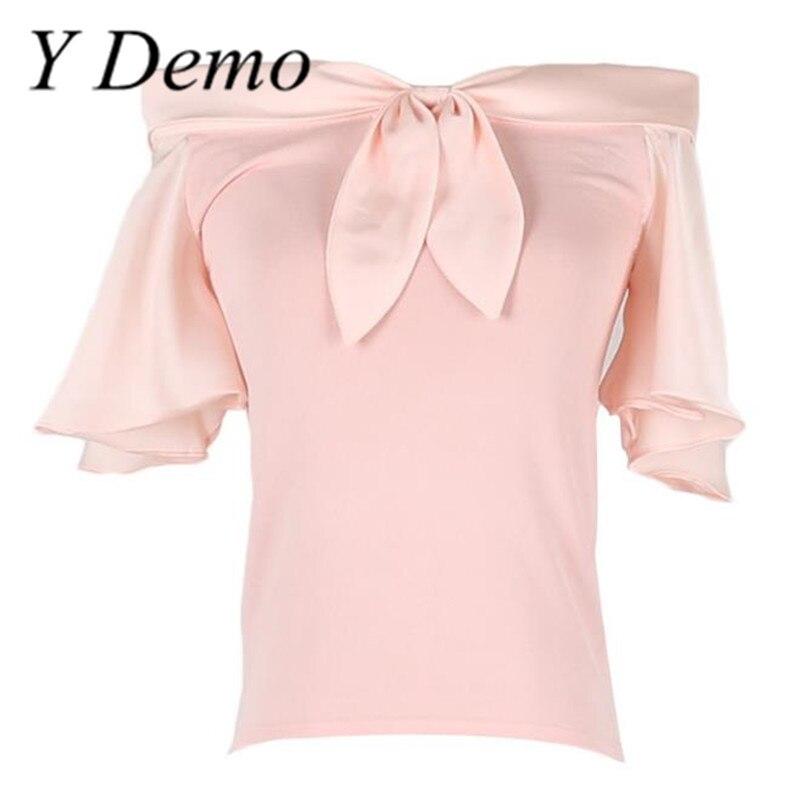 New Womens Fashion Slash Neck Flare Sleeve Bow Ice Silk Knitting Shirt Tops