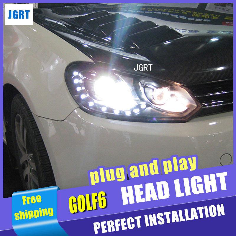 Стайлинга автомобилей для Гольф 6 светодиодов сборки фар фары Golf6 р 15-объектив водить ДХО двойным Луч H7 с HID комплект 2шт.