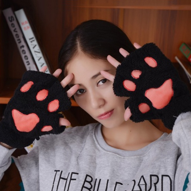 Women Winter Cute Cat's Paw...